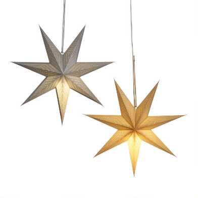 Silver and Gold Glitter Star Paper Pendant Shades Set of 2