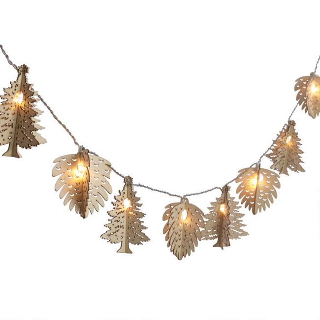 Trees & Pinecones LED 10 Bulb Battery Operated String Lights