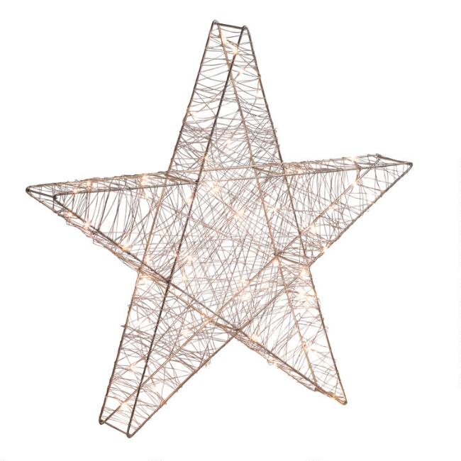 Silver Wire Micro LED 50 Bulb Battery Operated Star Decor