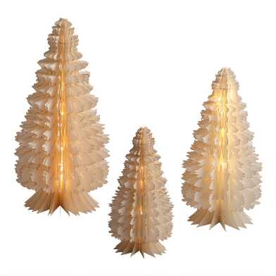 Gold and White Paper Battery Operated LED Pine Tree Decor