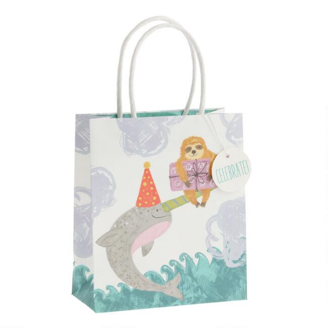 Small Birthday Sloth and Narwhal Kraft Gift Bags Set of 2