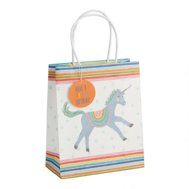 Medium Birthday Unicorn Kraft Gift Bags Set of 2