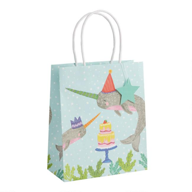 Medium Birthday Narwhal Kraft Gift Bags Set of 2