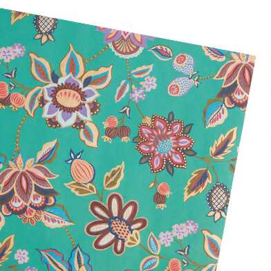 Teal Floral Wrapping Paper Roll