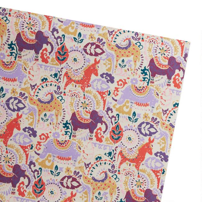Multicolor Stamped Animal Wrapping Paper Roll
