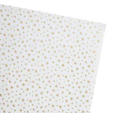 Gold Stars Kraft Wrapping Paper Roll