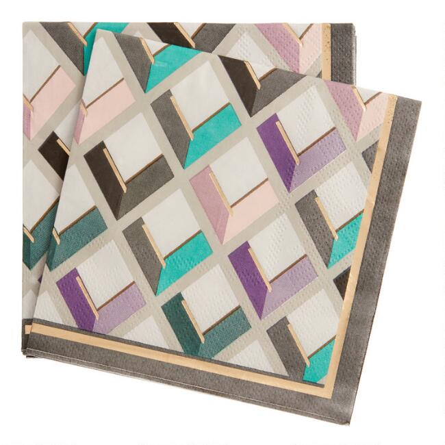 Multicolor and Gold Diamond Beverage Napkins 20 Count