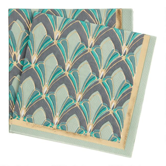Gold and Teal Gable Beverage Napkins 20 Count