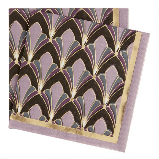 Gold and Purple Gable Beverage Napkins 20 Count