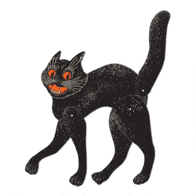 Vintage Halloween Jointed Cat Wall Decor