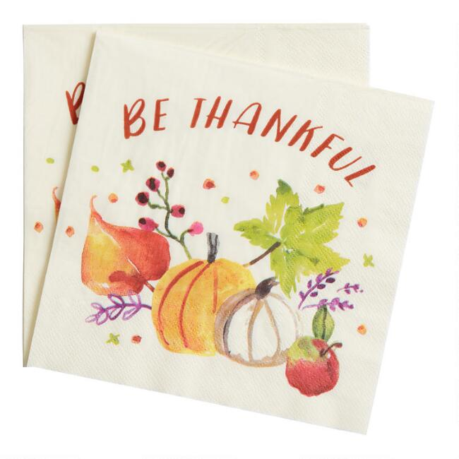 Be Thankful Harvest Lunch Napkins 20 Count