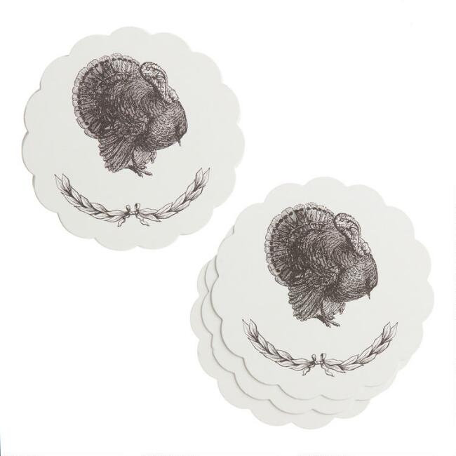 White and Black Turkey Thanksgiving Place Cards 12 Count