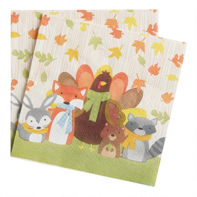 Kids Woodland Thanksgiving Beverage Napkins 20 Count