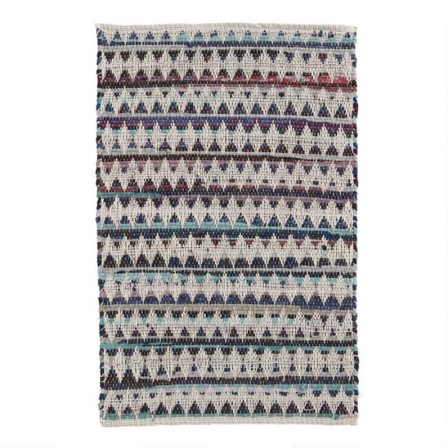 Blue Chevron Chindi Area Rug