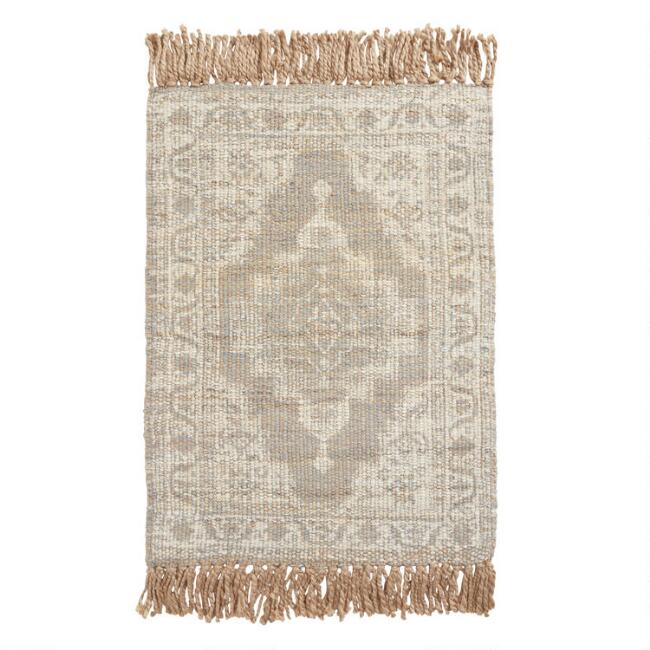 Gray Persian Style Jute Area Rug