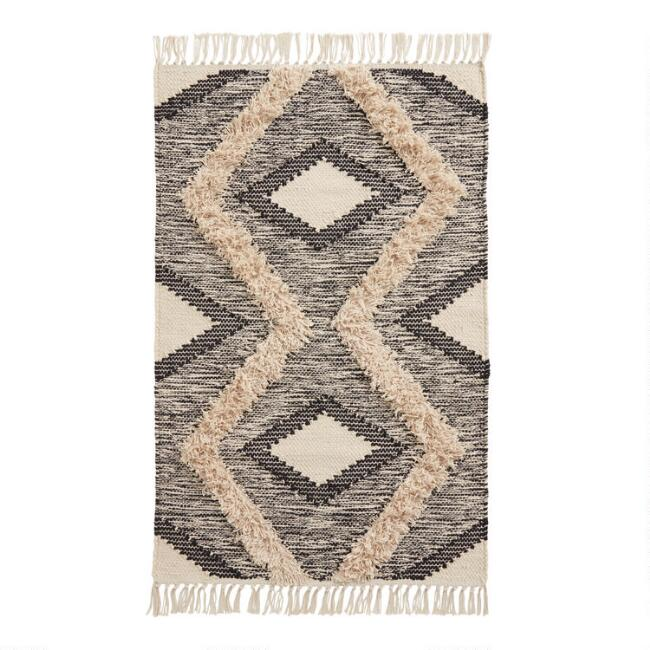 Black and Ivory Double Diamond Cotton Area Rug