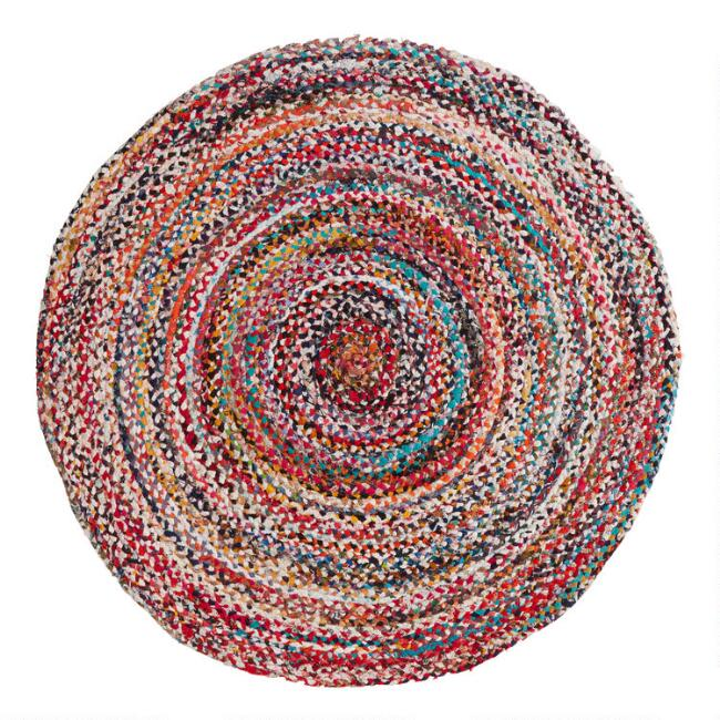 Round Multicolor Braided Chindi Reversible Area Rug