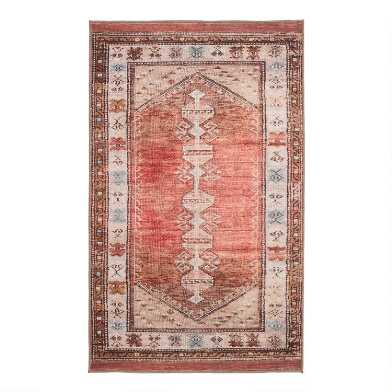 Terracotta and Beige Persian Style Izmir Area Rug