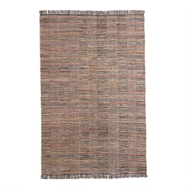 Multicolored Leather and Jute Woven Fairfax Area Rug