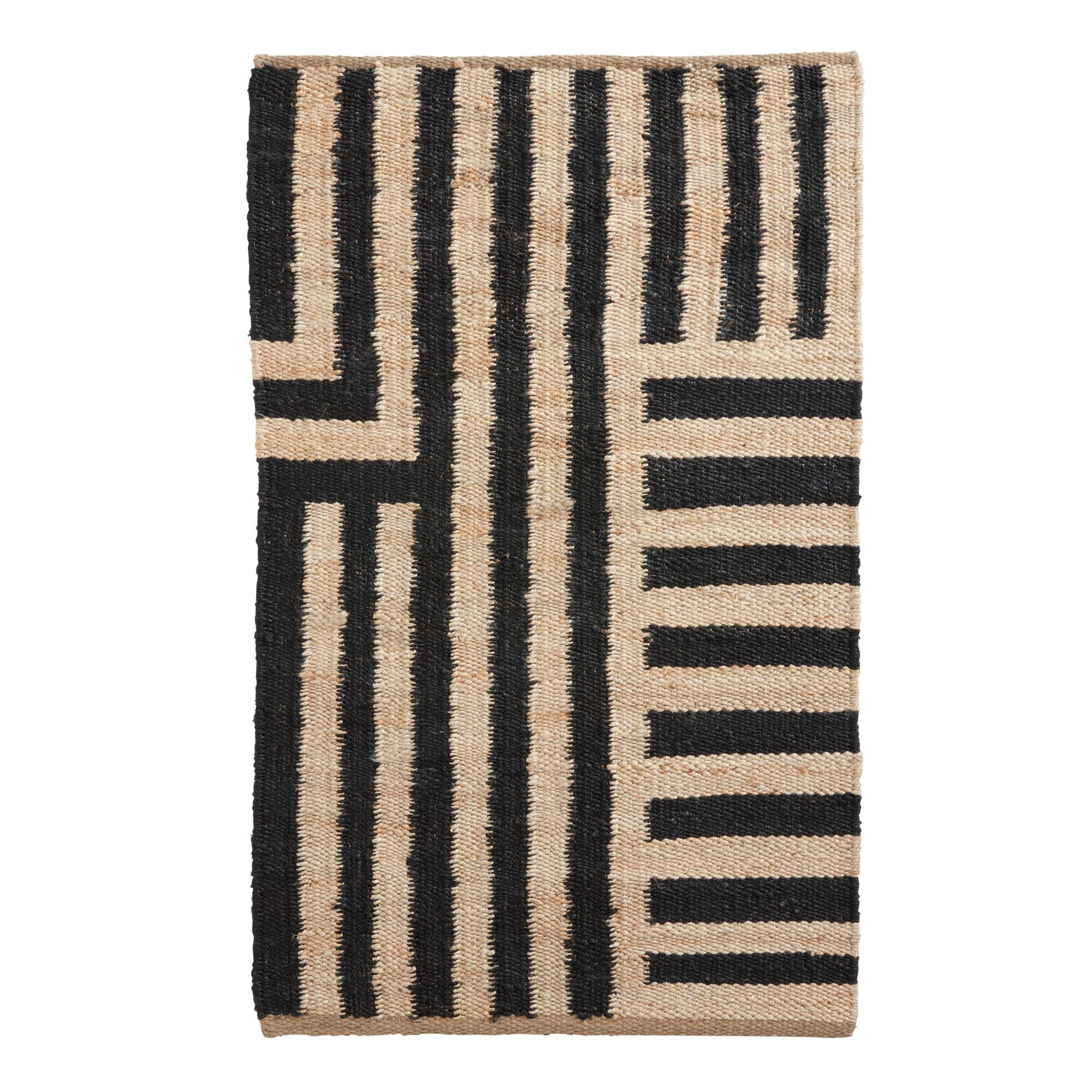 Natural and Black Striped Jute Ryder Area Rug - 3' x 5' by World Market