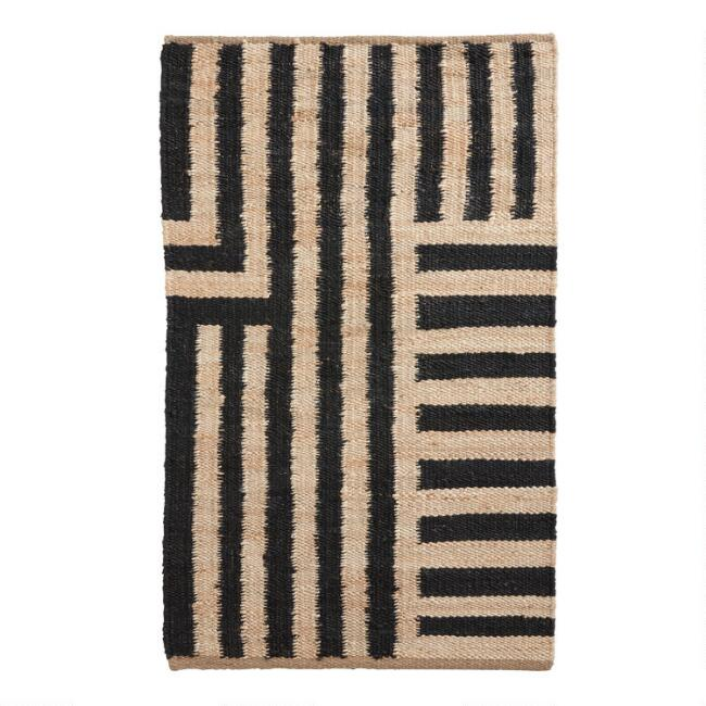 Natural and Black Striped Jute Ryder Area Rug