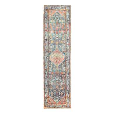 Peach And Light Blue Persian Style Troya Floor Runner