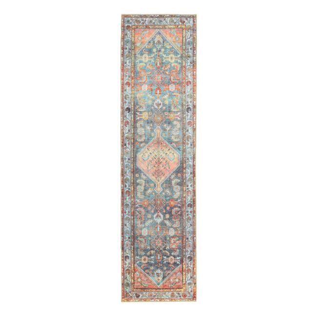 Peach and Light Blue Persian Style Troya Runner