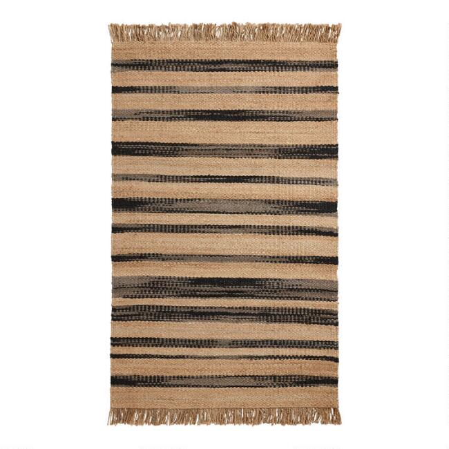 Black, Gray and Bleached Jute Stripe Bolinas Area Rug