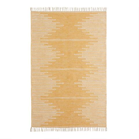 Golden Yellow And White Zigzag Merritt Area Rug