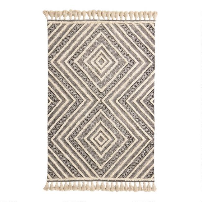 Black and Ivory Tufted Diamond Area Rug