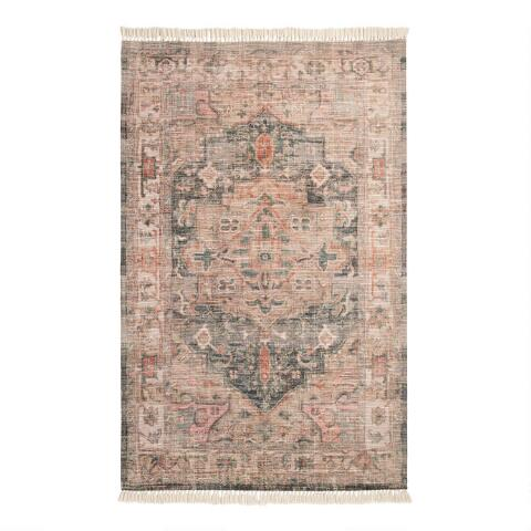 Blush And Green Napa Indoor Outdoor Rug With Backing
