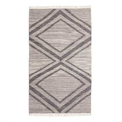 Charcoal and Ivory Double Diamond Marin Area Rug