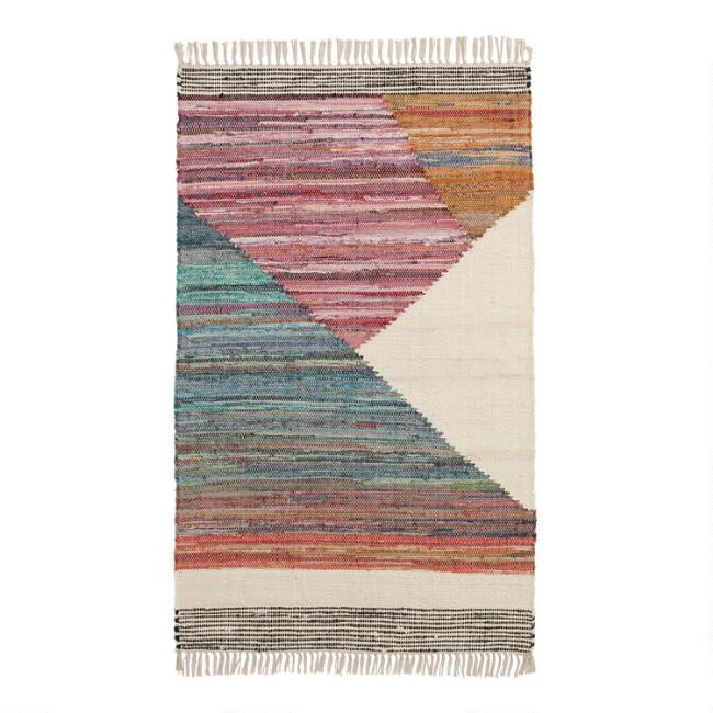Green and Pink Mod Chindi Area Rug