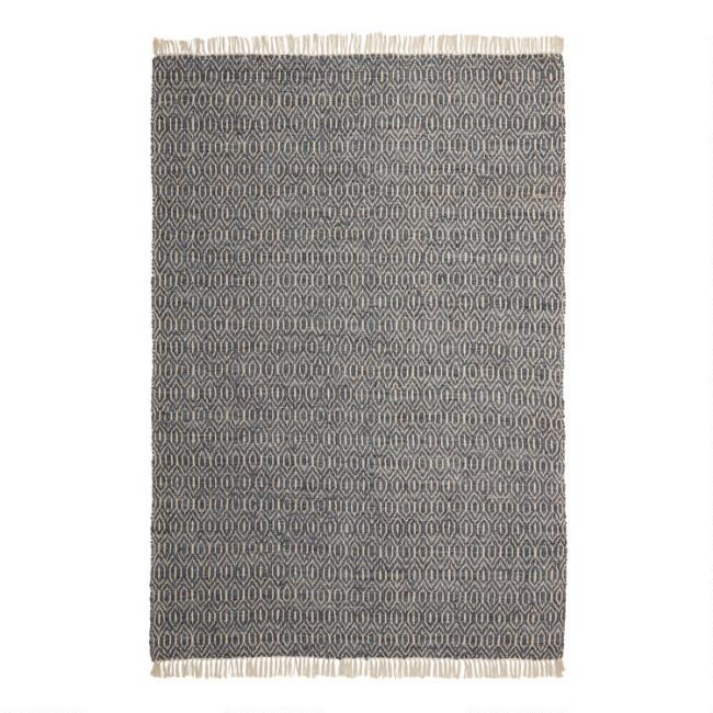 Slate Gray Leather and Natural Jute Diamond Area Rug