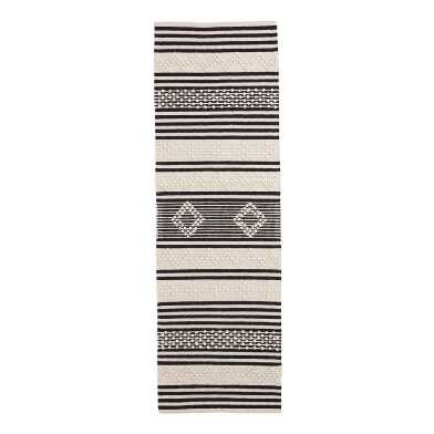 Black And Ivory Tufted Zigzag Mason Floor Runner