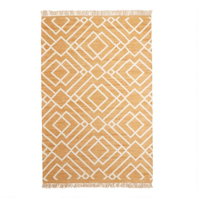 Gold Diamond Jute Nido Area Rug with Backing