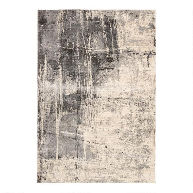 Ivory and Charcoal Abstract Lucas Area Rug