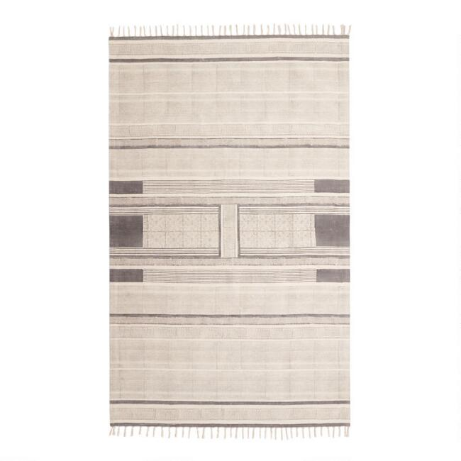 Charcoal Block Print Cotton Emory Area Rug