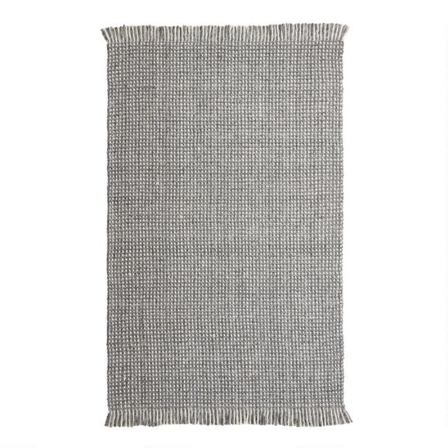 Gray and Ivory Chunky Sweater Reversible Cruz Area Rug