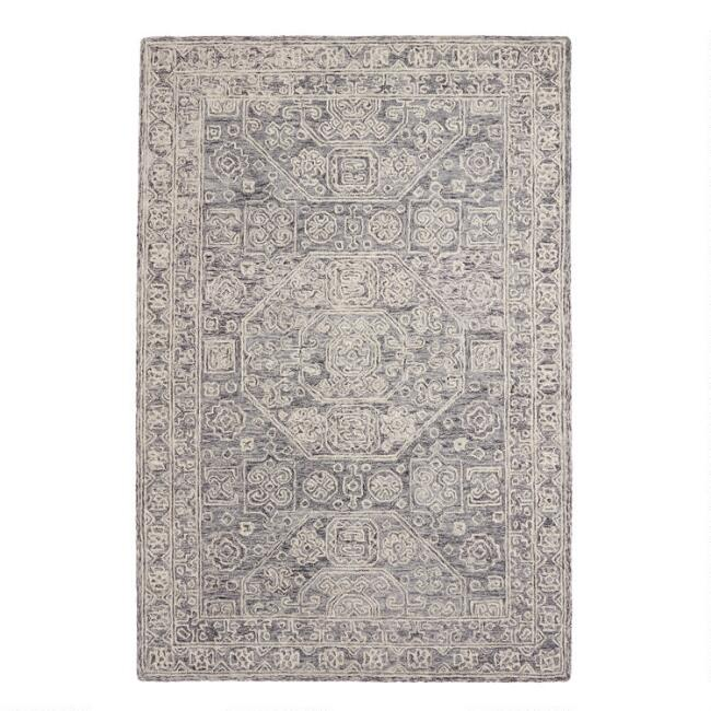 Gray and Ivory Tufted Wool Reyes Area Rug