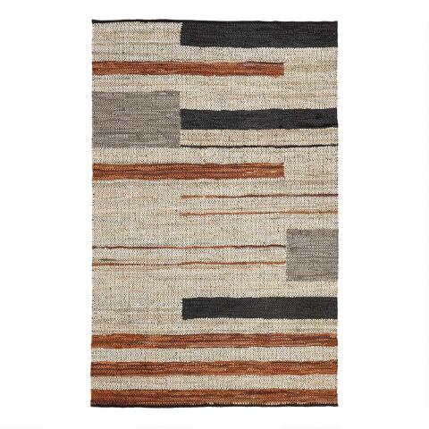 White Black And Brown Leather Fillmore Area Rug