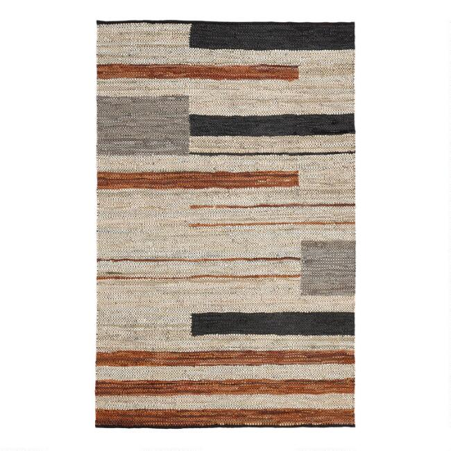 White, Black and Brown Leather Fillmore Area Rug