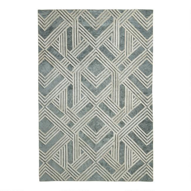 Sea Green Art Deco Tufted Area Rug