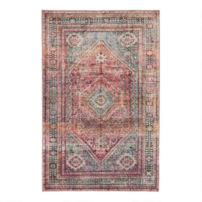Burgundy And Green Diamond Miramar Area Rug by World Market