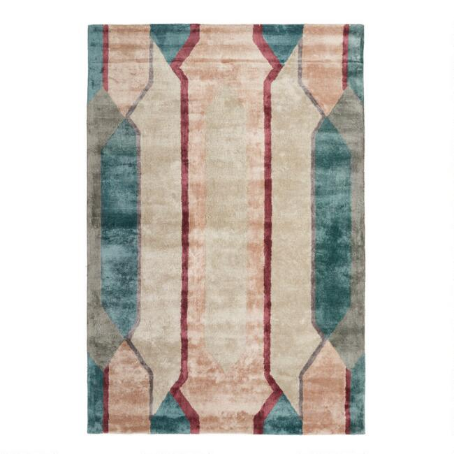 Blush and Green Tufted Paramount Area Rug