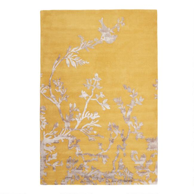 Yellow Wool and Viscose Empire Area Rug