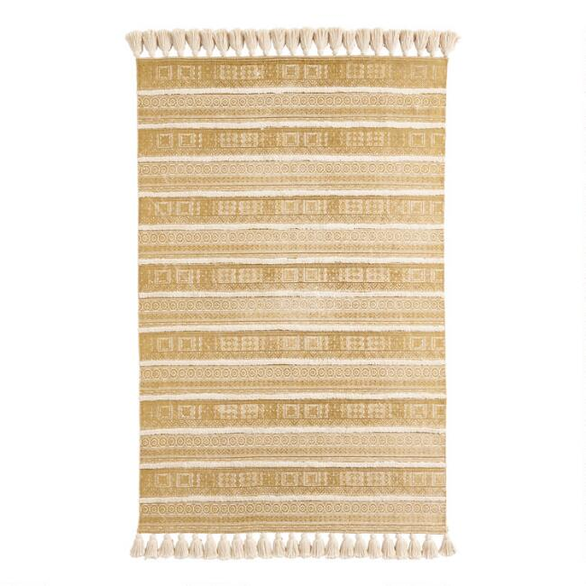 Golden Yellow Striped Geometric Polk Area Rug