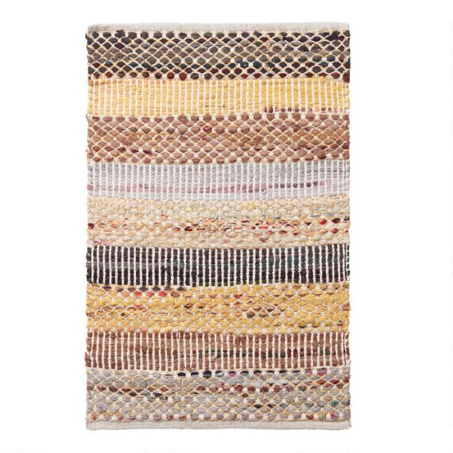 Yellow Wide Stripe Cotton Chindi Area Rug
