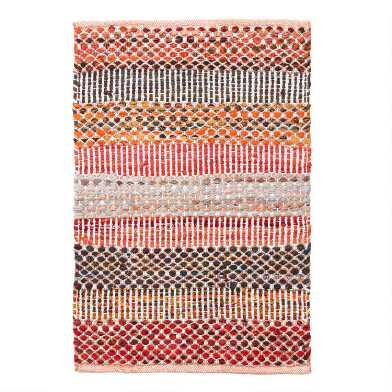 Orange Wide Stripe Cotton Chindi Area Rug