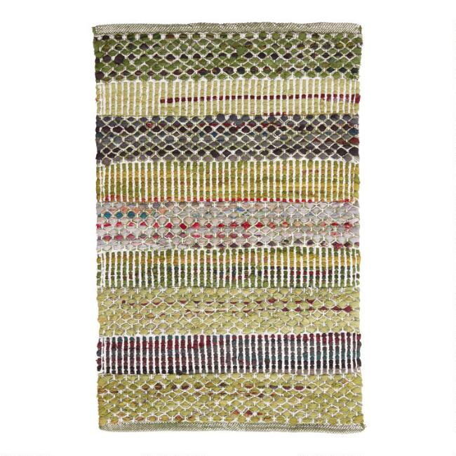 Green Wide Stripe Cotton Chindi Area Rug